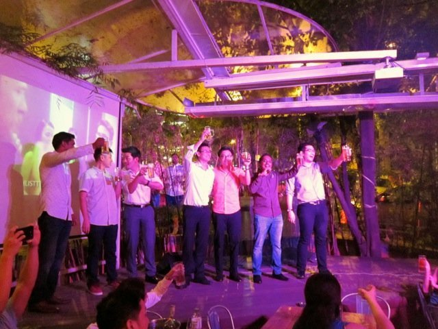The representatives from the host firms up on stage